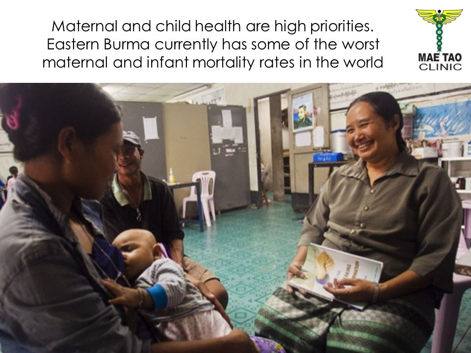Maternal and child health are high priorities. Eastern Burma currently has some of the worst maternal and infant mortality rates in the world