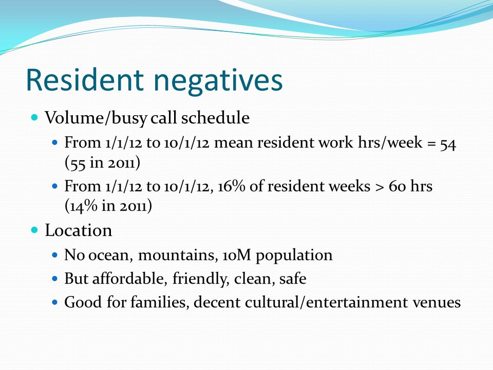 Resident negatives Volume/busy call schedule From 1/1/12 to 10/1/12 mean resident work hrs/week = 54 (55 in 2011) From 1/1/12 to 10/1/12, 16% of resident weeks > 60 hrs (14% in 2011) Location No ocean, mountains, 10M population But affordable, friendly, clean, safe Good for families, decent cultural/entertainment venues
