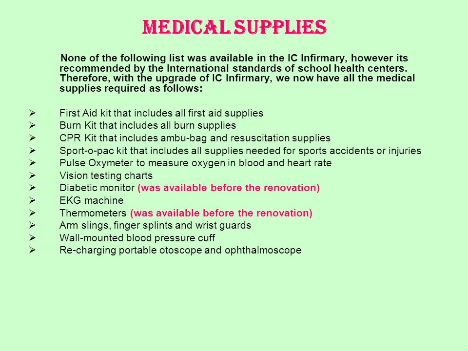 Medical Supplies None of the following list was available in the IC Infirmary, however its recommended by the International standards of school health