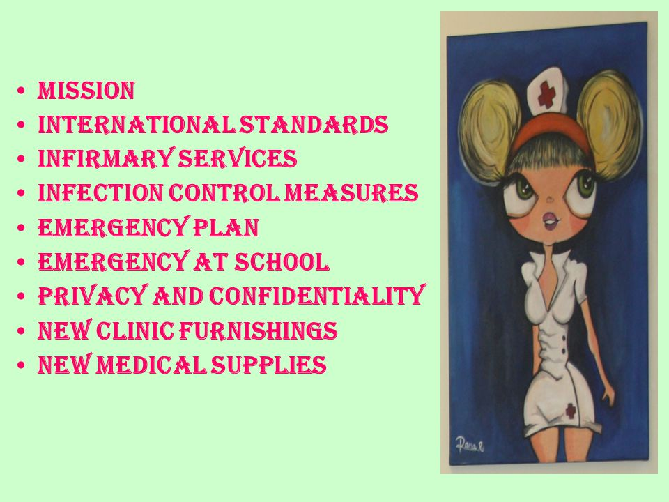 INFIRMARY UPGRADE ACCORDING TO INTERNATIONAL STANDARDS OF SCHOOL HEALTH CENTERS The Middle & Secondary School infirmary at IC is now renewed according to the international standards of school health centers
