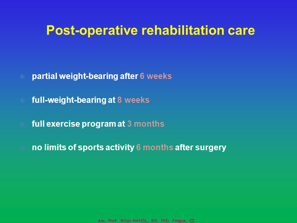Post-operative rehabilitation care partial weight-bearing after 6 weeks full-weight-bearing at 8 weeks full exercise program at 3 months no limits of sports activity 6 months after surgery Ass.