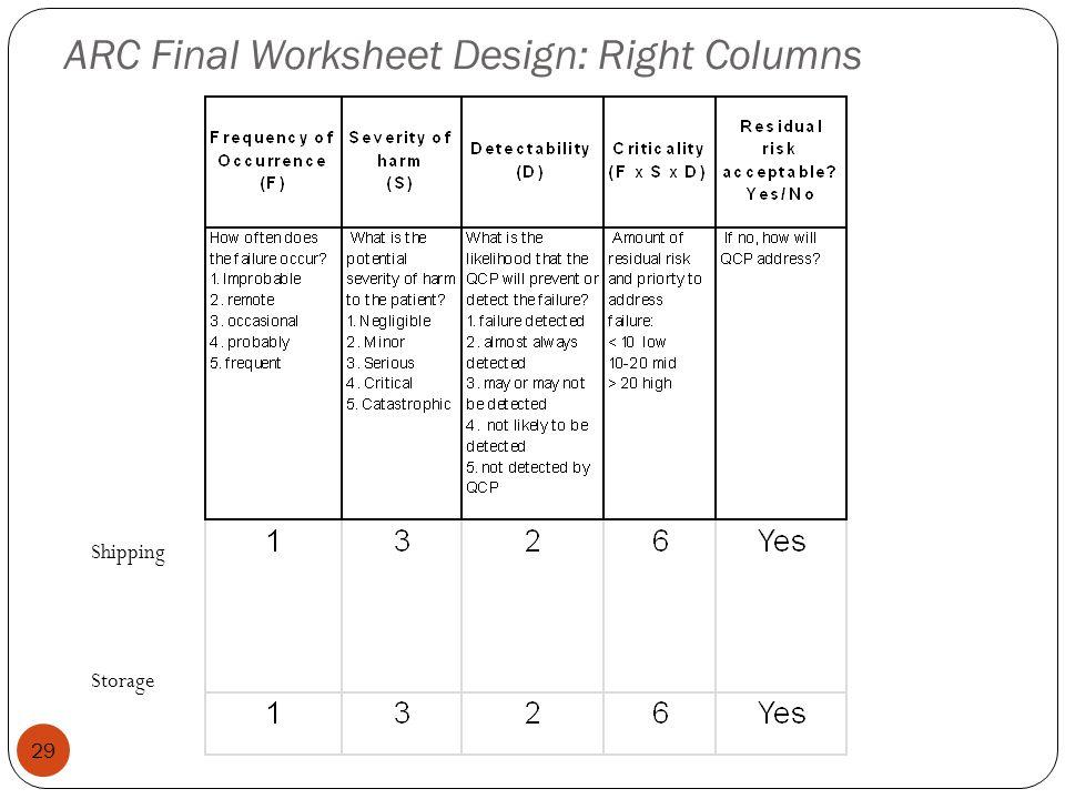 ARC Final Worksheet Design: Right Columns 29 Shipping Storage