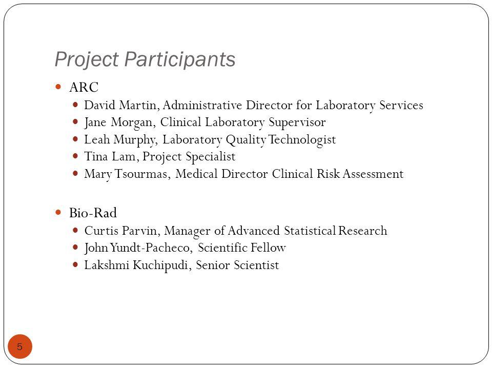 Project Participants 5 ARC David Martin, Administrative Director for Laboratory Services Jane Morgan, Clinical Laboratory Supervisor Leah Murphy, Labo