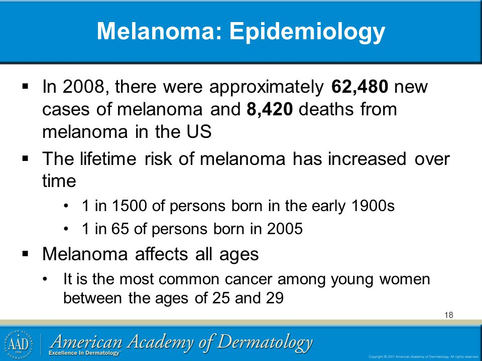 Melanoma: Epidemiology In 2008, there were approximately 62,480 new cases of melanoma and 8,420 deaths from melanoma in the US The lifetime risk of me