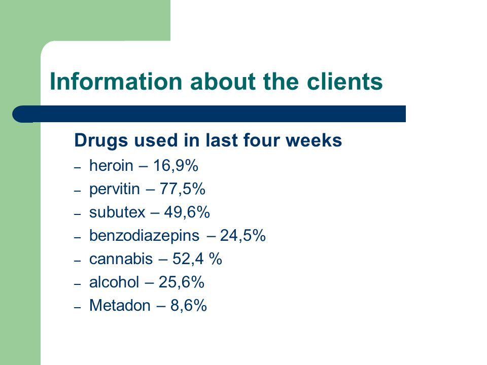 Information about the clients Drugs used in last four weeks – heroin – 16,9% – pervitin – 77,5% – subutex – 49,6% – benzodiazepins – 24,5% – cannabis – 52,4 % – alcohol – 25,6% – Metadon – 8,6%