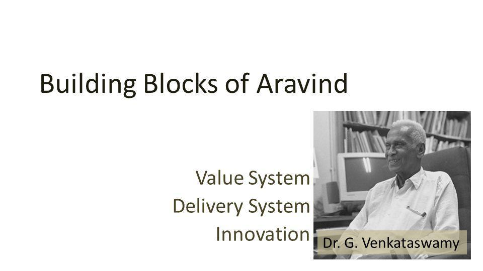 Building Blocks of Aravind Value System Delivery System Innovation Dr. G. Venkataswamy
