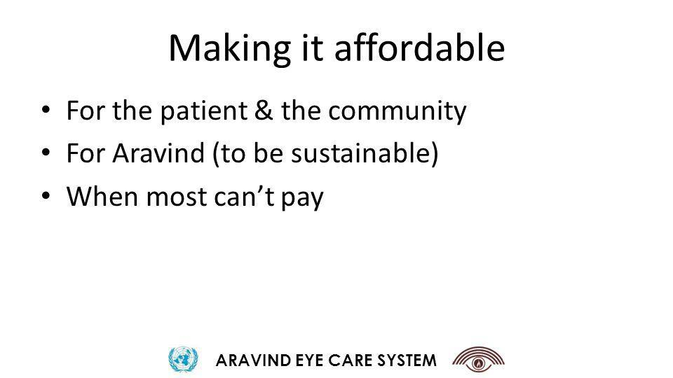 Making it affordable For the patient & the community For Aravind (to be sustainable) When most cant pay ARAVIND EYE CARE SYSTEM