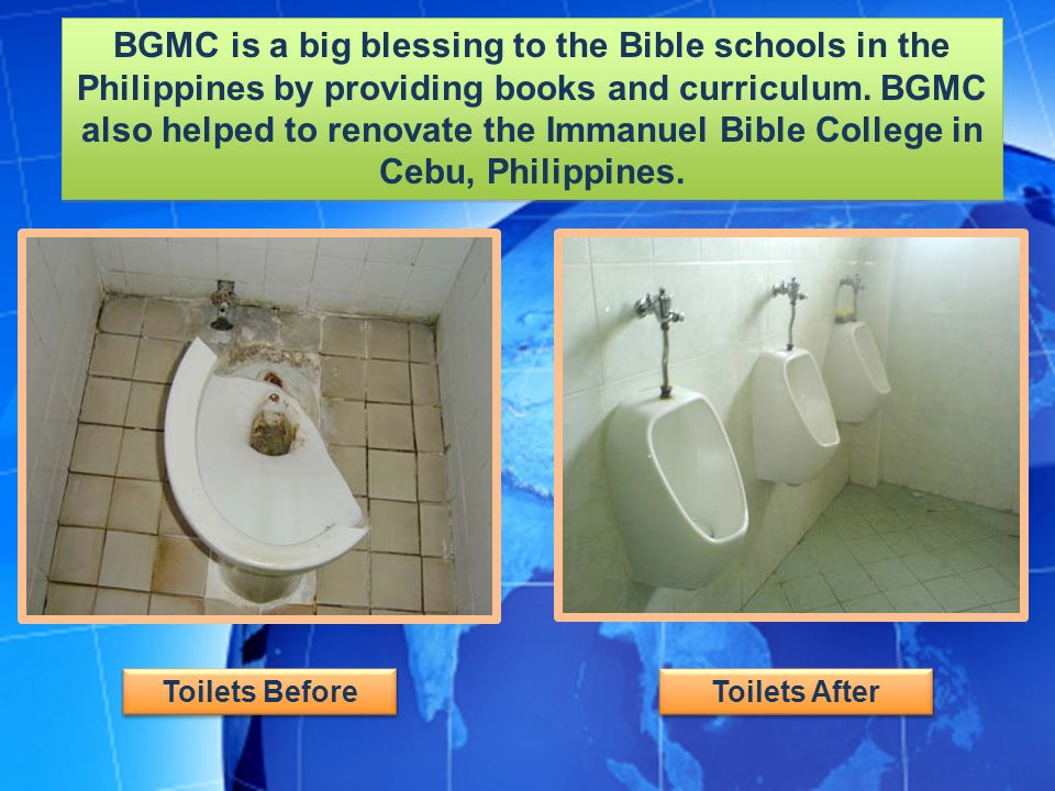 BGMC is a big blessing to the Bible schools in the Philippines by providing books and curriculum.