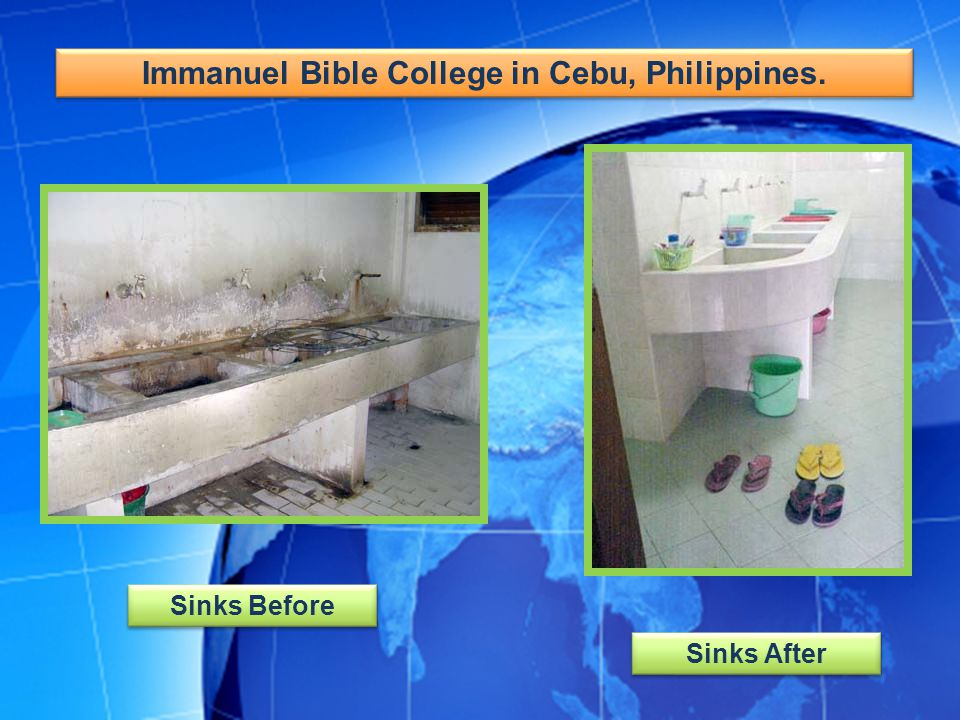 Immanuel Bible College in Cebu, Philippines. Sinks Before Sinks After
