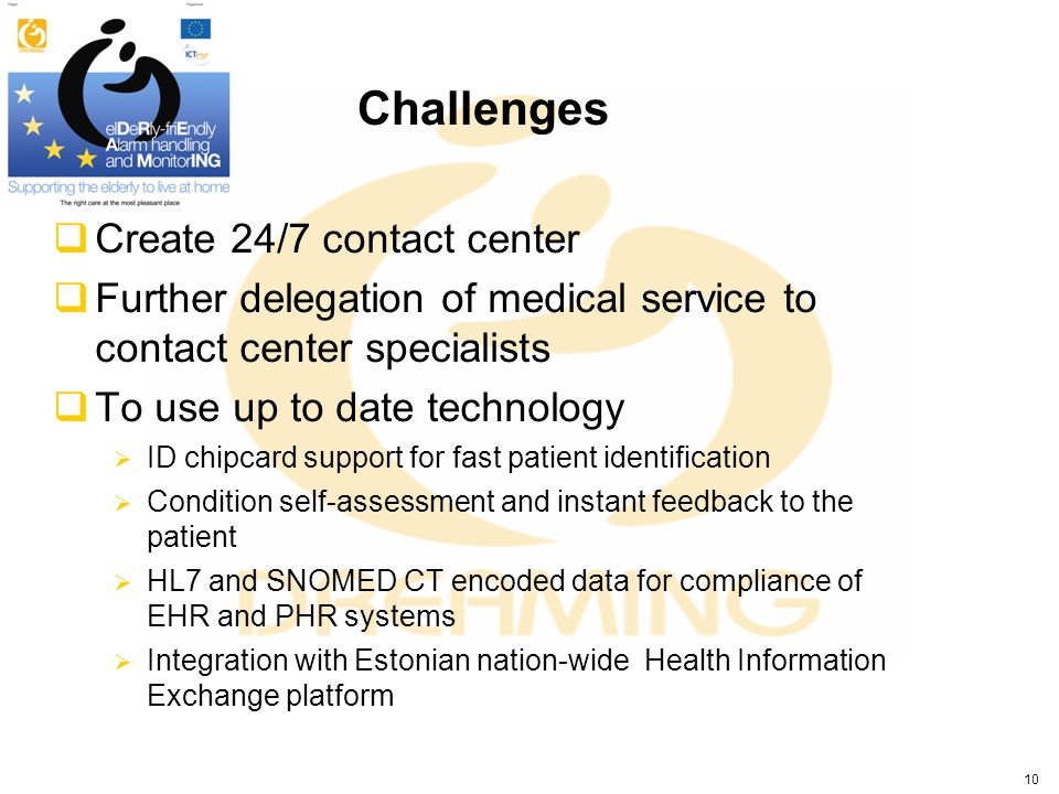 Challenges Create 24/7 contact center Further delegation of medical service to contact center specialists To use up to date technology ID chipcard sup