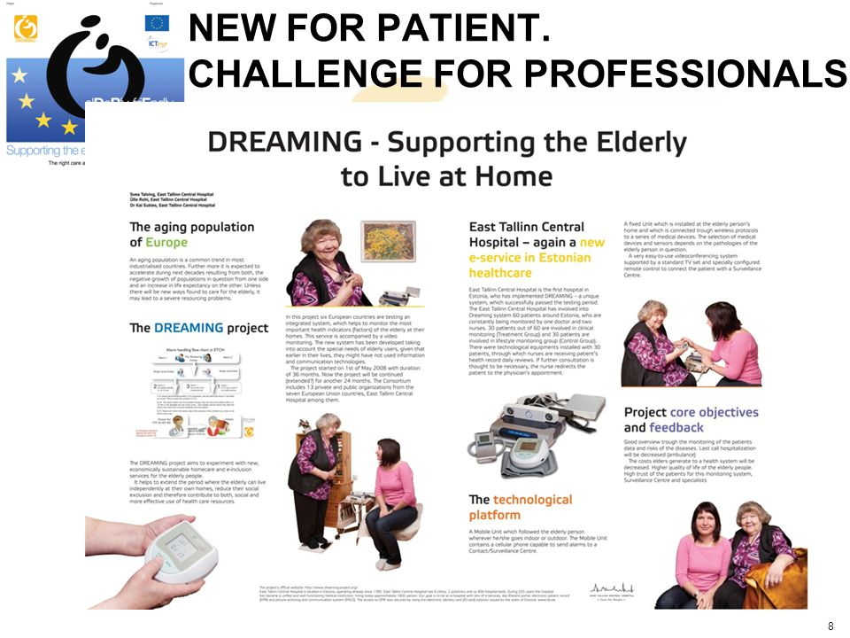 Benefits of a DREAMING service More satisfied senior citizens Reduces isolation of elderly people Creates new communication possibilities between caregivers and patients Professional care according to the needs of the patient Better medical service availability Avoids unexpected situations Ambulatory visits Hospitalizations