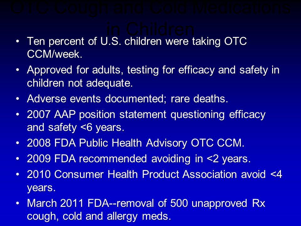OTC Cough and Cold Medications in Children Ten percent of U.S. children were taking OTC CCM/week.Ten percent of U.S. children were taking OTC CCM/week