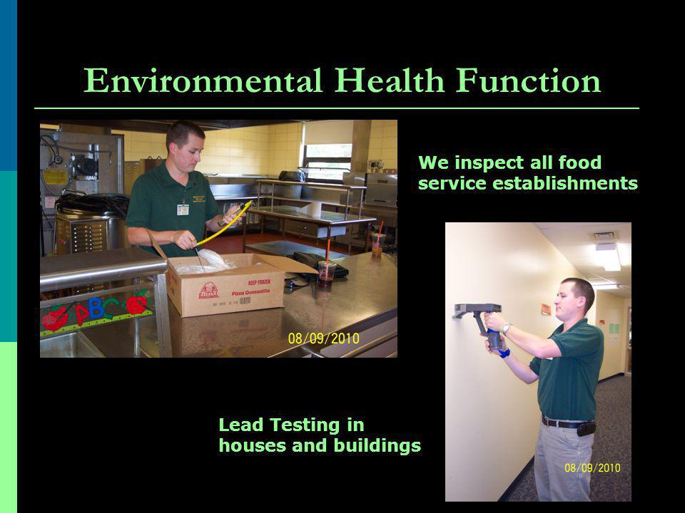 Environmental Health Function We inspect all food service establishments Lead Testing in houses and buildings