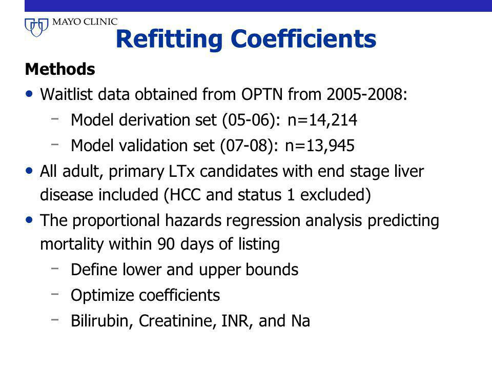 Refitting Coefficients Methods Waitlist data obtained from OPTN from 2005-2008: ̵ Model derivation set (05-06): n=14,214 ̵ Model validation set (07-08