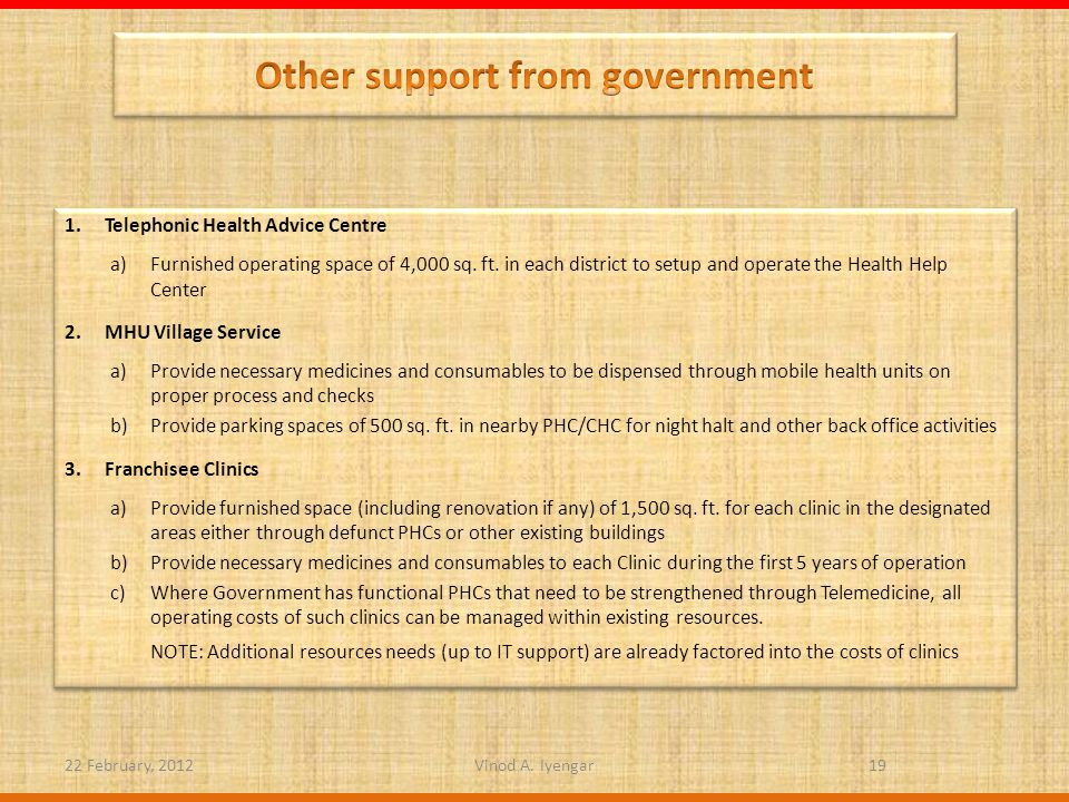 1.Telephonic Health Advice Centre a)Furnished operating space of 4,000 sq.