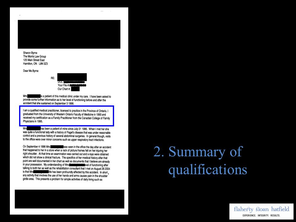 2.Summary of qualifications