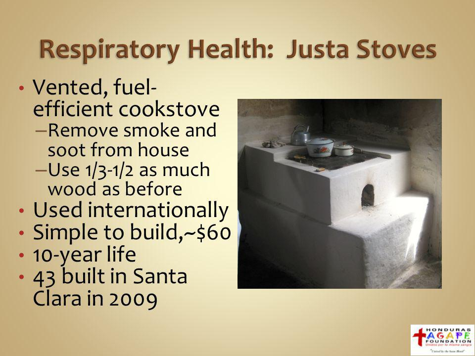 Vented, fuel- efficient cookstove – Remove smoke and soot from house – Use 1/3-1/2 as much wood as before Used internationally Simple to build,~$60 10-year life 43 built in Santa Clara in 2009