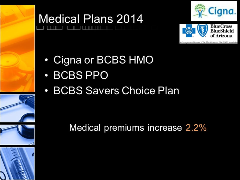 Medical Plans 2014 Cigna or BCBS HMO BCBS PPO BCBS Savers Choice Plan Medical premiums increase 2.2%