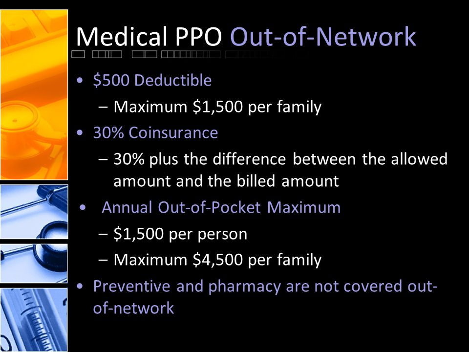 Medical PPO Out-of-Network $500 Deductible –Maximum $1,500 per family 30% Coinsurance –30% plus the difference between the allowed amount and the billed amount Annual Out-of-Pocket Maximum –$1,500 per person –Maximum $4,500 per family Preventive and pharmacy are not covered out- of-network