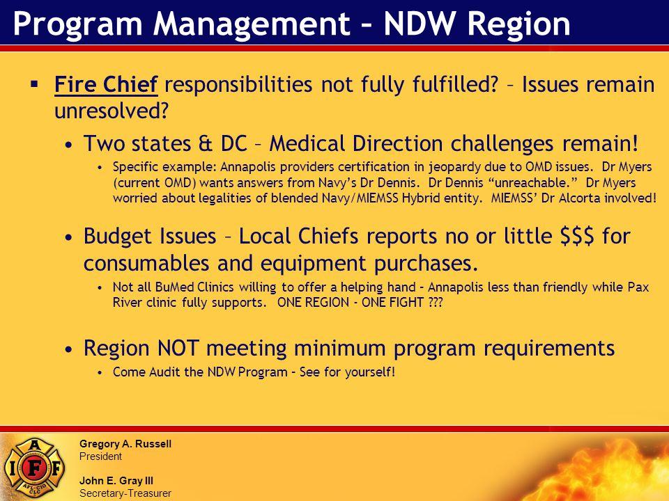 Gregory A. Russell President John E. Gray III Secretary-Treasurer Program Management – NDW Region Fire Chief responsibilities not fully fulfilled? – I