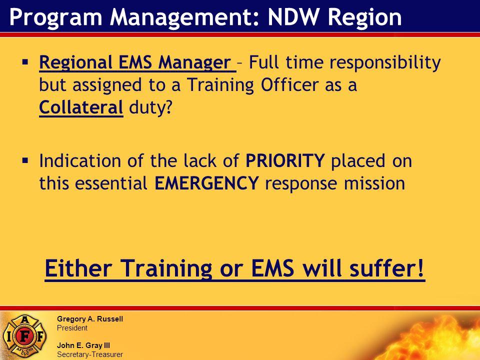 Gregory A. Russell President John E. Gray III Secretary-Treasurer Program Management: NDW Region Regional EMS Manager – Full time responsibility but a