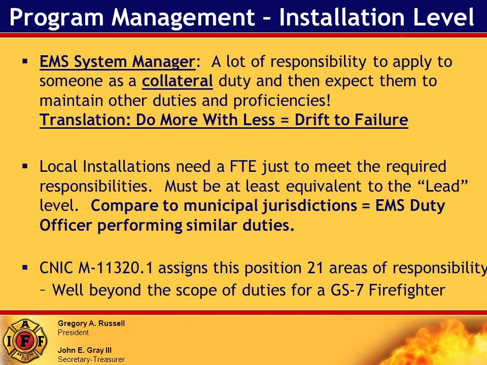 Gregory A. Russell President John E. Gray III Secretary-Treasurer Program Management – Installation Level EMS System Manager: A lot of responsibility