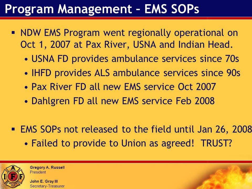 Gregory A. Russell President John E. Gray III Secretary-Treasurer Program Management – EMS SOPs NDW EMS Program went regionally operational on Oct 1,