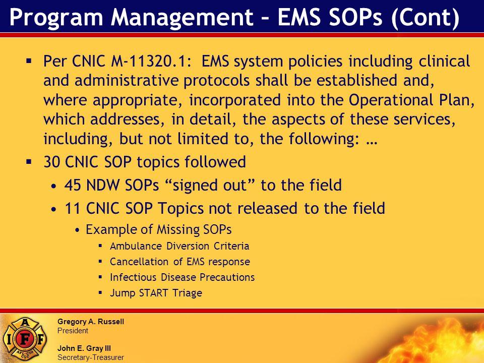 Gregory A. Russell President John E. Gray III Secretary-Treasurer Program Management – EMS SOPs (Cont) Per CNIC M-11320.1: EMS system policies includi