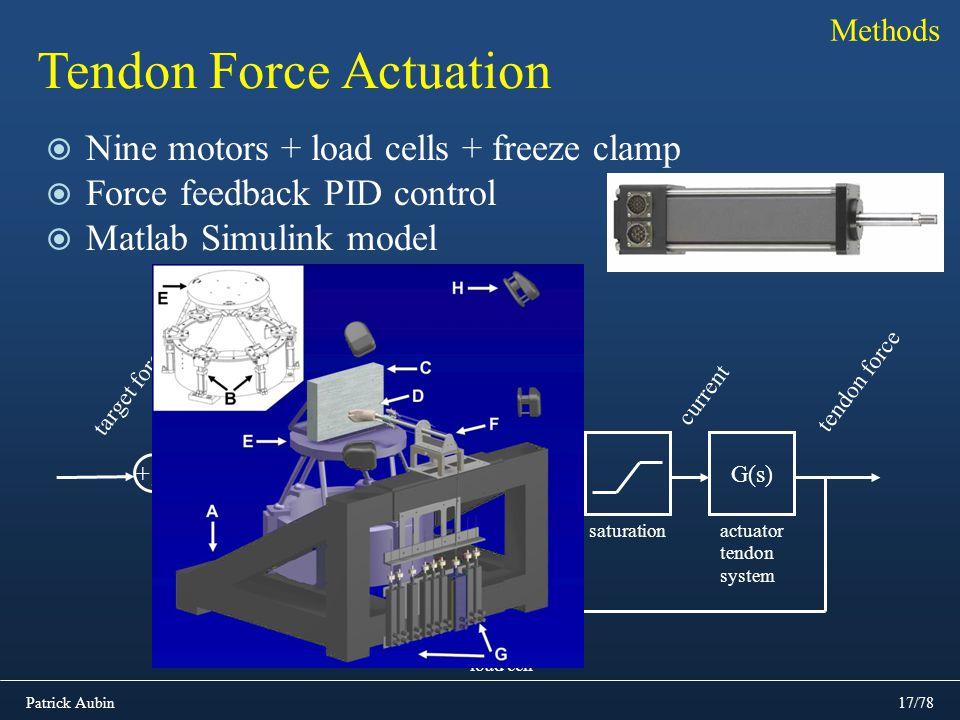 Patrick Aubin17/78 Tendon Force Actuation Nine motors + load cells + freeze clamp Force feedback PID control Matlab Simulink model Methods A/D tendon
