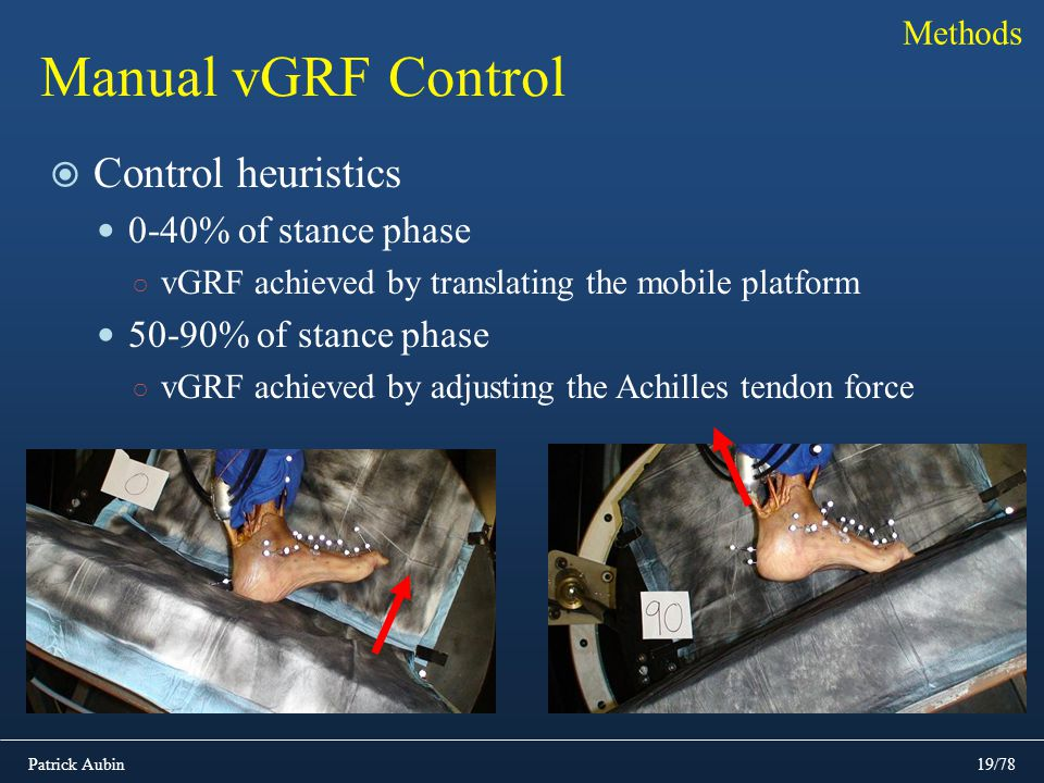 Patrick Aubin19/78 Manual vGRF Control Control heuristics 0-40% of stance phase vGRF achieved by translating the mobile platform 50-90% of stance phas