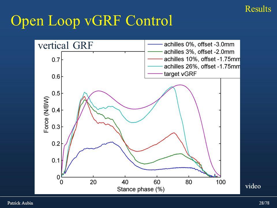 Patrick Aubin28/78 Results Open Loop vGRF Control vertical GRF video