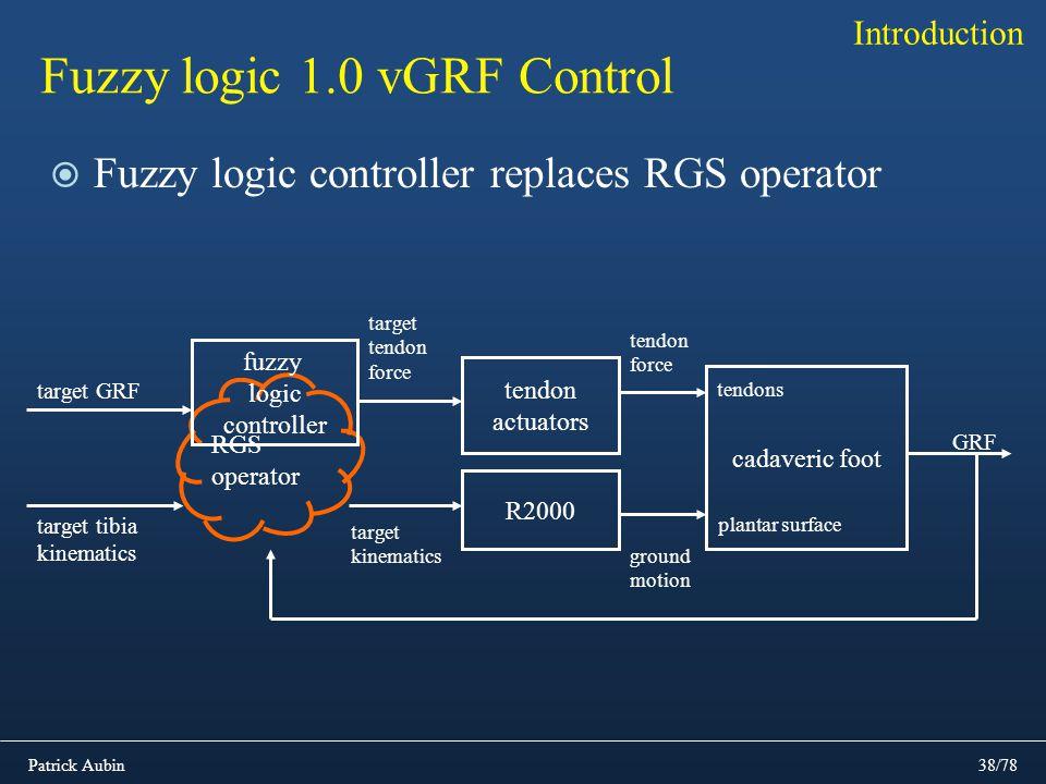 Patrick Aubin38/78 Fuzzy logic 1.0 vGRF Control Fuzzy logic controller replaces RGS operator Introduction R2000 tendon actuators target tendon force c