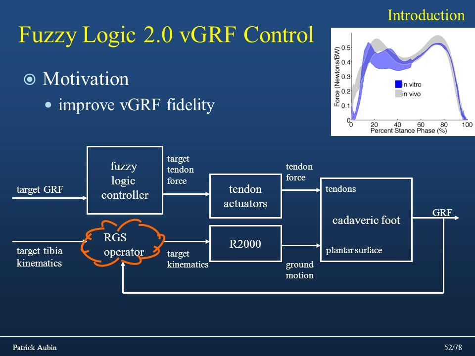 Patrick Aubin52/78 Fuzzy Logic 2.0 vGRF Control Motivation improve vGRF fidelity Introduction R2000 tendon actuators target tendon force cadaveric foo