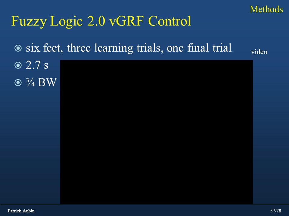 Patrick Aubin57/78 Fuzzy Logic 2.0 vGRF Control Methods six feet, three learning trials, one final trial 2.7 s ¾ BW video