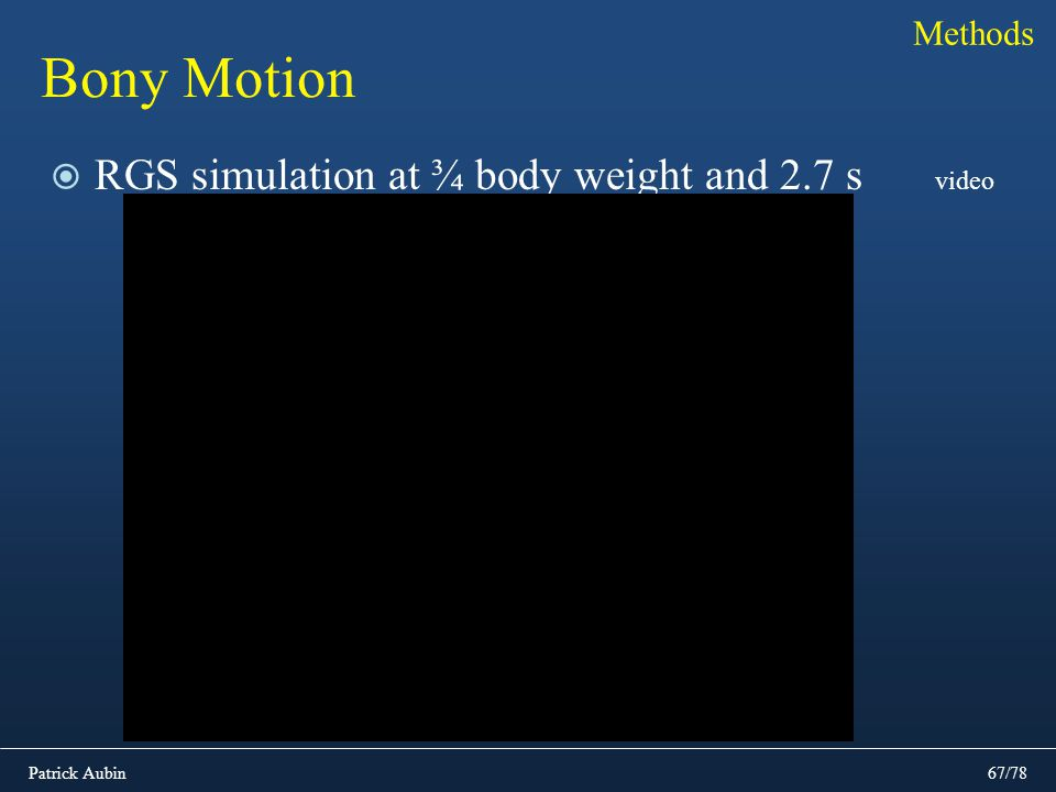Patrick Aubin67/78 Bony Motion RGS simulation at ¾ body weight and 2.7 s Methods video