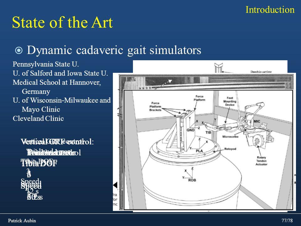 Patrick Aubin77/78 State of the Art Dynamic cadaveric gait simulators Introduction Vertical GRF control Trial and error Tibia DOF 3 Speed 12 s Vertica