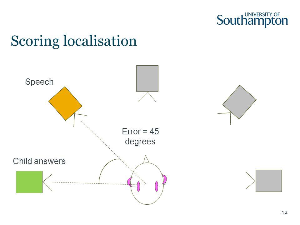 12 Child answers Scoring localisation Speech Error = 45 degrees