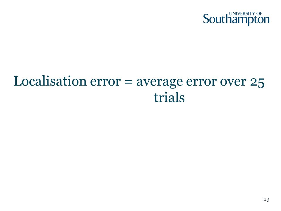 Localisation error = average error over 25 trials 13