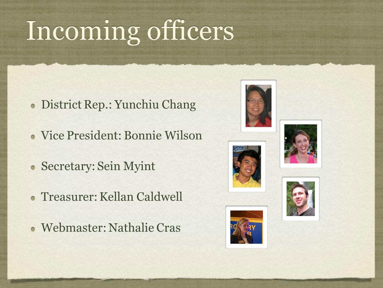 Incoming officers District Rep.: Yunchiu Chang Vice President: Bonnie Wilson Secretary: Sein Myint Treasurer: Kellan Caldwell Webmaster: Nathalie Cras