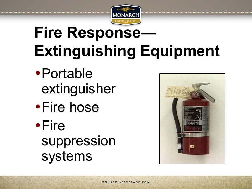 Fire Response Extinguishing Equipment Portable extinguisher Fire hose Fire suppression systems