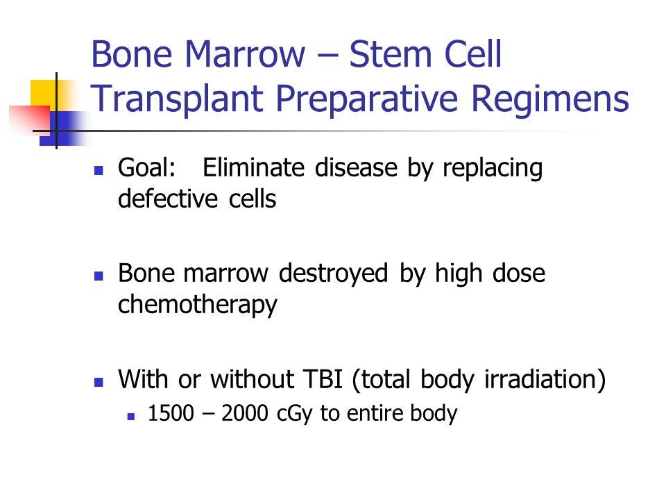 Bone Marrow – Stem Cell Transplant Preparative Regimens Goal: Eliminate disease by replacing defective cells Bone marrow destroyed by high dose chemot