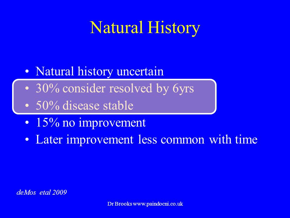 Natural History Natural history uncertain 30% consider resolved by 6yrs 50% disease stable 15% no improvement Later improvement less common with time