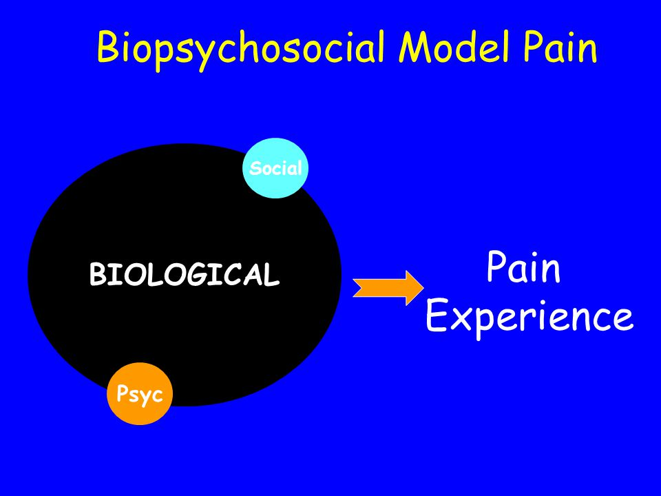 BIOLOGICAL Psyc Social Pain Experience Biopsychosocial Model Pain