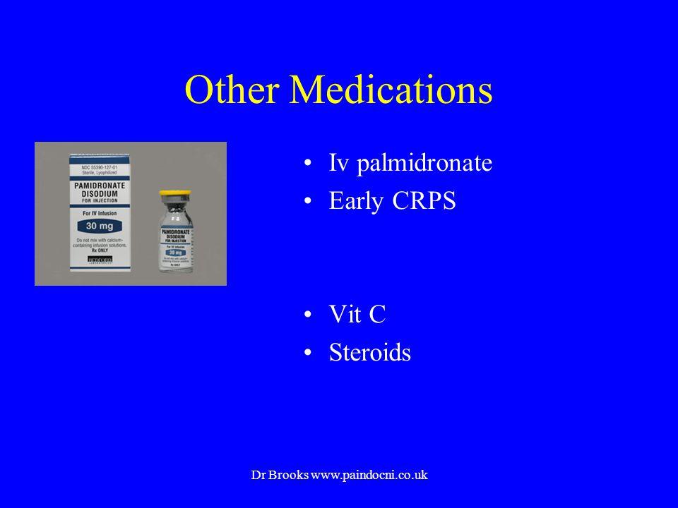 Other Medications Iv palmidronate Early CRPS Vit C Steroids Dr Brooks www.paindocni.co.uk