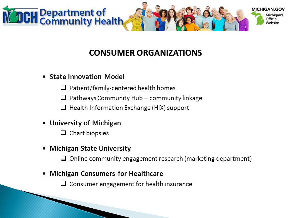 CONSUMER ORGANIZATIONS State Innovation Model Patient/family-centered health homes Pathways Community Hub – community linkage Health Information Exchange (HIX) support University of Michigan Chart biopsies Michigan State University Online community engagement research (marketing department) Michigan Consumers for Healthcare Consumer engagement for health insurance
