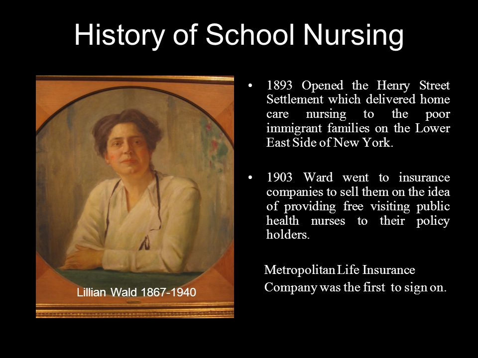 History of School Nursing 1893 Opened the Henry Street Settlement which delivered home care nursing to the poor immigrant families on the Lower East Side of New York.