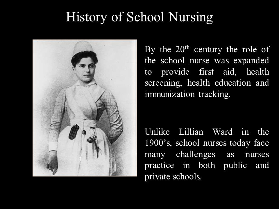 History of School Nursing By the 20 th century the role of the school nurse was expanded to provide first aid, health screening, health education and