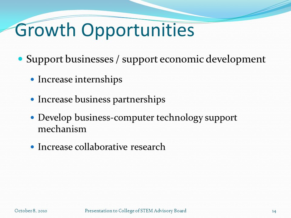 Growth Opportunities Support businesses / support economic development Increase internships Increase business partnerships Develop business-computer technology support mechanism Increase collaborative research 14October 8, 2010Presentation to College of STEM Advisory Board