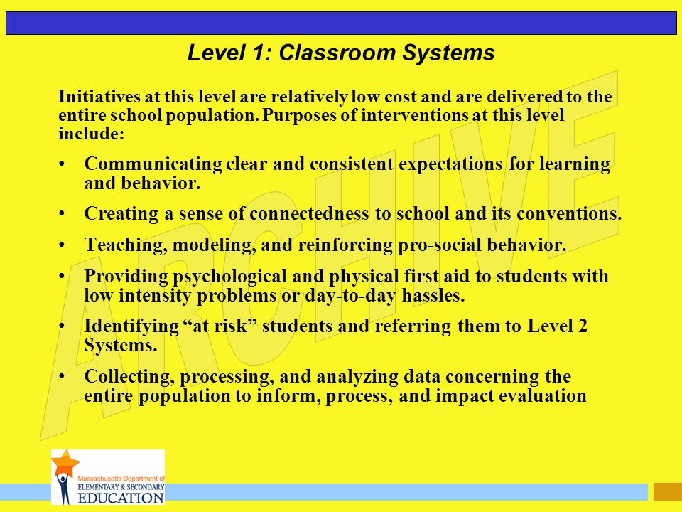 Level 1: Classroom Systems Initiatives at this level are relatively low cost and are delivered to the entire school population. Purposes of interventi