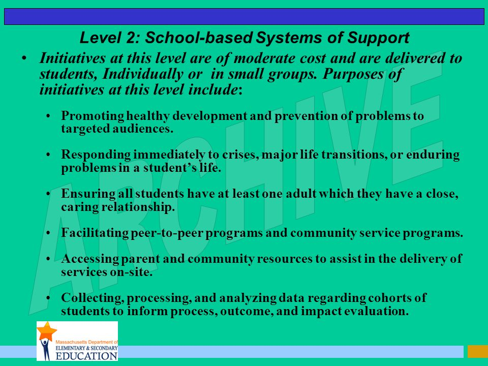Level 2: School-based Systems of Support Initiatives at this level are of moderate cost and are delivered to students, Individually or in small groups